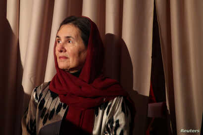 Afghan first lady Rula Ghani stands backstage during the 2017 Asia Game Changer Awards and Gala Dinner in New York, Nov. 1, 2017.