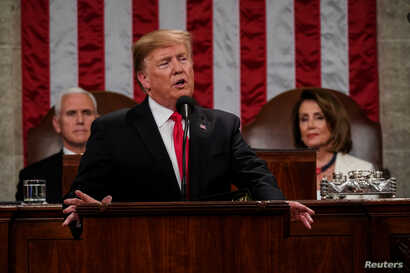 President Donald Trump delivered the State of the Union address, with Vice President Mike Pence and Speaker of the House Nancy Pelosi, at the Capitol in Washington, Feb. 5, 2019.