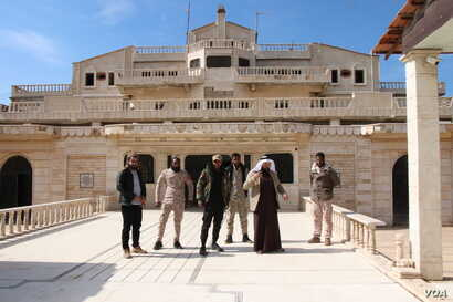 The headquarters of prominent tribal and provincial leader Sheikh Humaydi Daham al-Hadi, who has a fighting force of 6,500 men allied with the internationally backed Syrian Democratic Forces against IS, Tel Alo, Syria, March 2, 2019. (H. Murdock/VOA)...