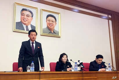 North Korean Vice Foreign Minister Choe Son Hui, center, speaks at a gathering for diplomats in Pyongyang, North Korea, March 15, 2019.