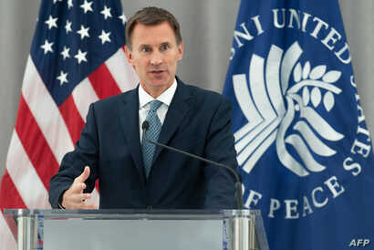 British Foreign Secretary Jeremy Hunt speaks about UK foreign policy and upholding the international order at the US Institute of Peace in Washington, DC, Aug. 21, 2018.