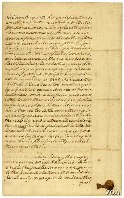 Images of George Washington's inaugural address in 1789. (courtesy The National Archives)