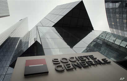 FILE - A view of the Societe Generale bank headquarters in La Defense, west of Paris, Wednesday, Feb. 13, 2013.