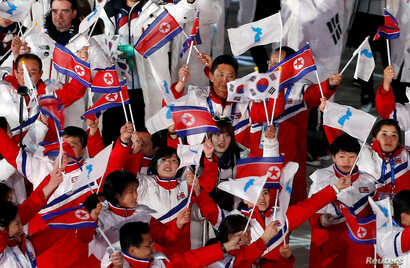 Pyeongchang 2018 Winter Olympics - Closing ceremony - Pyeongchang Olympic Stadium - Pyeongchang, South Korea - February 25, 2018 - Athletes from North Korea and South Korea during the closing ceremony.