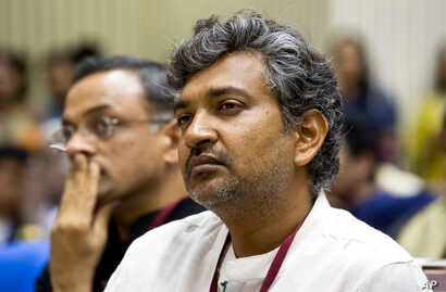S.S. Rajamouli, the director of Best Feature Film 'Baahubali,' sits during the national film awards presentation ceremony in New Delhi, India, May 3, 2016.