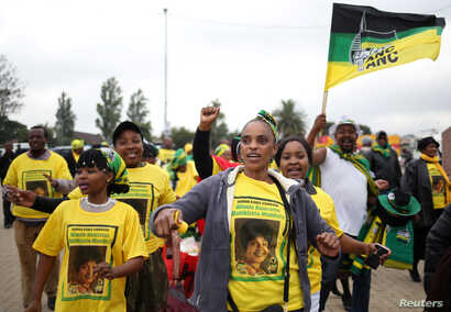 African National Congress (ANC) supporters arrive at a memorial service for Winnie Madikizela-Mandela at Orlando Stadium in Johannesburg's Soweto township, South Africa, April 11, 2018.