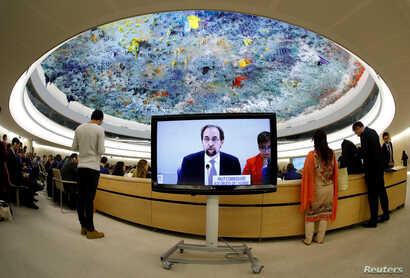 Zeid Ra'ad al-Hussein, U.N. High Commissioner for Human Rights is pictured on a screen during his speech at the 36th Session of the Human Rights Council at the United Nations in Geneva, Switzerland, Sept. 11, 2017. Picture taken with a fisheye lens.