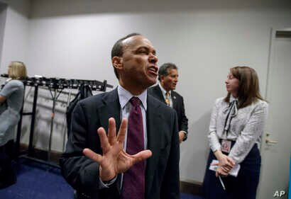 Rep. Luis Gutierrez, D-Ill., who represents a majority Hispanic congressional district in Chicago, speaks to reporters on Capitol Hill in Washington, Feb. 16, 2017.