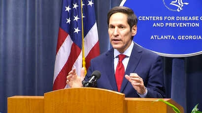 Dr. Tom Frieden, director of the U.S. Centers for Disease and Control, holds a media briefing in Atlanta, Sept. 2, 2014.