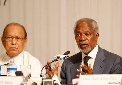 Kofi Annan, chairman for Advisory Commission on Rakhine State, talks to journalists during his news conference in Yangon, Myanmar, Aug. 24, 2017.
