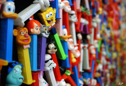 FILE - A display of PEZ dispensers is seen at the Easton Museum of PEZ Dispensers, July 18, 2003, in Easton, Pa.