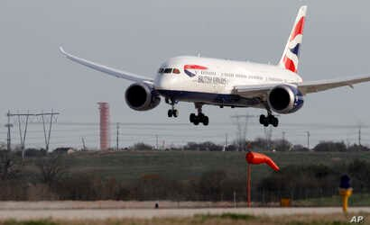British Airways inaugural nonstop flight from London, England to Austin, Texas operated by a Boeing 787 Dreamliner, arrives at Austin Bergstrom International Airport on March 3, 2014.