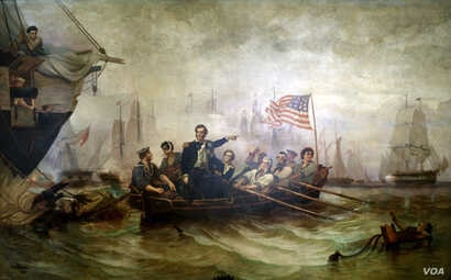 "This 1865 painting Perry's Victory on Lake Erie by artist William Henry Powell depicts the moment when Captain Oliver Hazard Perry made his way from the destroyed battleship Lawrence to the Niagara. It inspired the phrase ""Don't give up the ship...."
