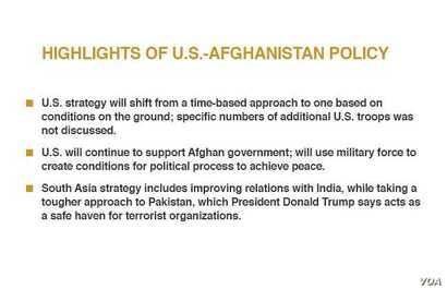 Highlights of U.S.-Afghanistan strategy