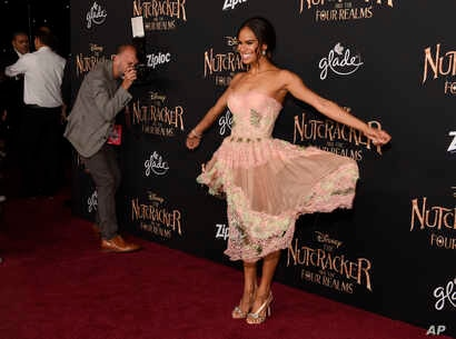 """Misty Copeland, a cast member in """"The Nutcracker and the Four Realms,"""" poses at the premiere of the film at the Dolby Theatre in Los Angeles, Oct. 29, 2018."""