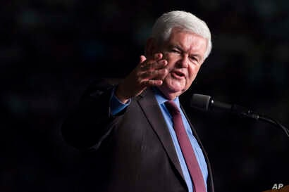 Former Speaker of the House Newt Gingrich introduces Donald Trump during a campaign rally, Sept. 19, 2016, in Ft. Myers, Florida.