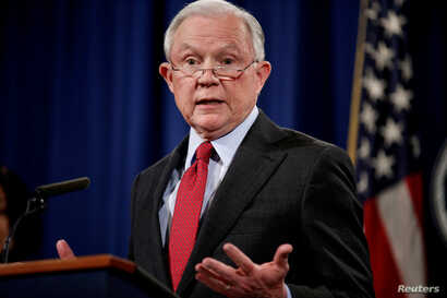 FILE - U.S. Attorney General Jeff Sessions speaks during a news conference at the Department of Justice in Washington, Dec. 15, 2017.