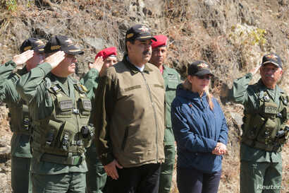 Venezuela's President Nicolas Maduro attends a military exercise in in Caracas, Feb. 1, 2019.