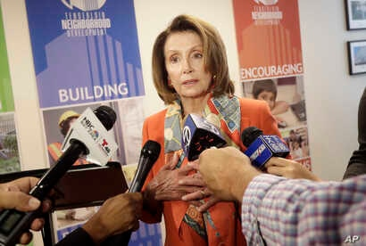 House Minority Leader Nancy Pelosi speaks to reporters after a news conference in San Francisco, Aug. 21, 2018.