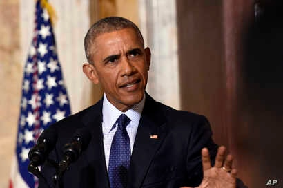 President Barack Obama speaks at the Treasury Department in Washington, following a meeting with his National Security Council to get updates on the investigation into the attack in Orlando, Florida and review efforts to degrade and destroy ISIL, Jun...