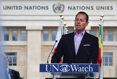 Richard Grenell, U.S. Ambassador to Germany, addresses a rally for equal rights at the U.N. in Geneva, Switzerland, March 18, 2019.