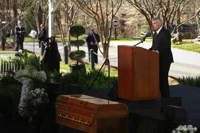 Franklin Graham, son of Billy Graham, delivers a sermon during the funeral service for the late U.S. evangelist Billy Graham at the Billy Graham Library in Charlotte, North Carolina, March 2, 2018.