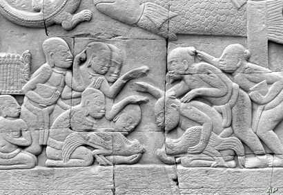 The old pastime of cockfighting still beguiles enthusiasts in the reliefs carved centuries ago on the walls of the Angkor Wat, in Cambodia.