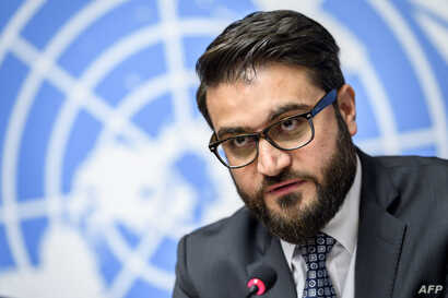 """FILE - Afghan National Security Adviser Hamdullah Mohib is pictured at a press conference in Geneva, Nov. 28, 2018. He told reporters in Washington on March 14, 2019, that the U.S. peace strategy in Afghanistan was """"ostracizing and alienating"""" the Af"""
