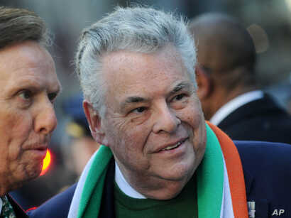 New York Representative Peter King at the Saint Patrick's Day Parade in New York City, March 17, 2018.