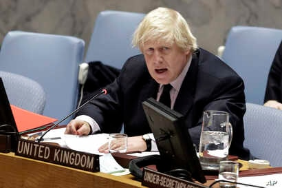 Britain's Foreign Minister Boris Johnson addresses the U.N. Security Council on Somalia, March 23, 2017. Johnson, who visited Somalia last week, chaired a council meeting on the humanitarian and political situation in the Horn of Africa nation.