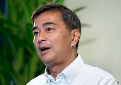 The leader of Thailand's Democrat Party Abhisit Vejjajiva talks to The Associated Press during an interview Wednesday, March 20, 2019, in Bangkok, Thailand.