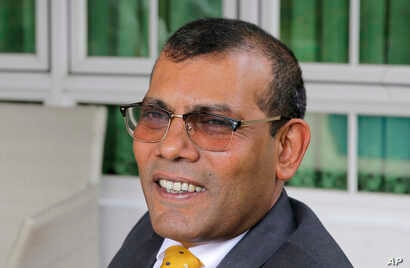Former Maldives President Mohamed Nasheed is pictured during an interview with Associated Press in Colombo, Sri Lanka, Feb. 2, 2018.