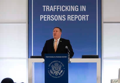Secretary of State Mike Pompeo speaks during an event to announce the 2018 Trafficking in Persons Report ceremony at the U.S. State Department in Washington, June 28, 2018.
