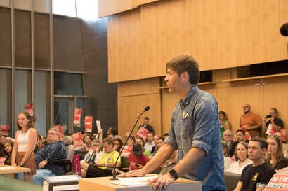 Death Cab for Cutie lead singer Ben Gibbard addresses the Seattle City Council, Aug. 6, 2018.
