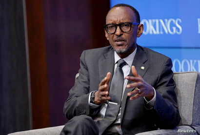 """FILE - Rwandan President Paul Kagame speaks about """"Flagship Reforms for a More Effective African Union,"""" at the Brookings Institution in Washington, Sept. 21, 2017."""