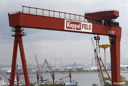 FILE - A view of a Keppel Corporation shipyard in Singapore, Jan. 19, 2016.