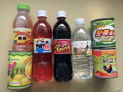 These are some of the brand products of North Korea's flagship airline, Air Koryo. They include energy drinks to alcohol, in Pyongyang, North Korea, Jan. 31,2018. Air Koryo runs at least one gas station and car wash in Pyongyang, has its own fleet ...