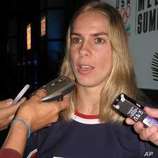 Jenny Potter talks to reporters during US Women's hockey team media event