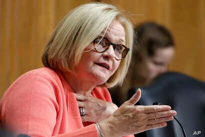 FILE - Sen. Claire McCaskill, D-Mo., asks a question during a Senate Finance Committee hearing in Washington, June 20, 2018. McCaskill says Russian hackers tried unsuccessfully to infiltrate her Senate computer network. The Missouri Democrat released...