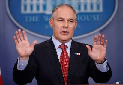 EPA Administrator Scott Pruitt speaks to the media during the daily briefing in the Brady Press Briefing Room of the White House in Washington, June 2, 2017.