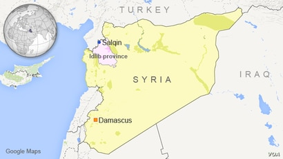 Map of Syria showing Salqin, in Idlib province