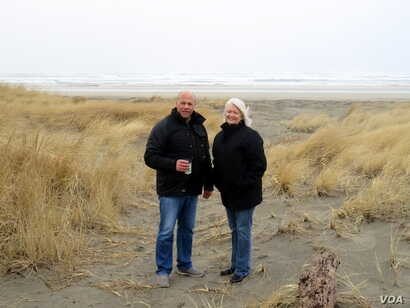 Survival Capsule customer Jeanne Johnson (right) lives three houses in from the dunes and the Pacific Ocean surf on Washington state's Long Beach Peninsula. Geologic records show the Cascadia Subduction Zone offshore is capable of generating a massiv...