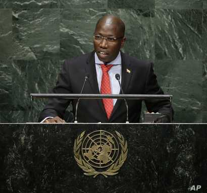 Domingos Simoes Pereira, Prime Minister of Guinea-Bissau, speaks during the 69th session of the United Nations General Assembly at U.N. headquarters, Sept. 29, 2014