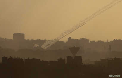 Rocket fired from northern Gaza Strip toward Israel, July 25, 2014.