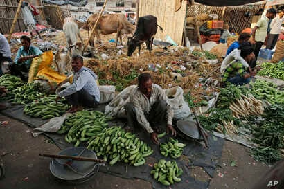 Vegetable vendors set up their cucumber stalls at a wholesale market in Lucknow, in the central Indian state of Uttar Pradesh, May 6, 2017.