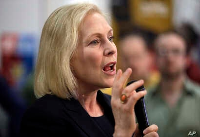 Democratic presidential candidate Sen. Kirsten Gillibrand, D-N.Y., speaks during a campaign meet-and-greet, March 15, 2019, at To Share Brewing in Manchester, N.H.