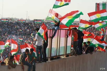 Supporters say international calls to postpone the vote have no impact on their enthusiasm for the referendum in Irbil, Kurdistan Region of Iraq, Sept. 22, 2017.