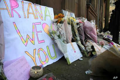 Flower tributes at St Ann's square, Manchester, England, May 23, 2017.