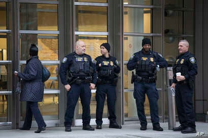 """The Department of Homeland Security has personnel in place in front of the Brooklyn Federal Courthouse for the start of jury selection in the trial of Joaquin """"El Chapo"""" Guzman, Nov. 5, 2018, in New York."""