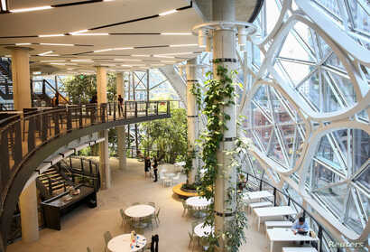 The second and third floors of the new Amazon Spheres are seen during a grand opening event at Amazon's Seattle headquarters in Seattle, Washington, Jan. 29, 2018.